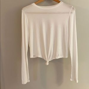 White Long Sleeve Crop Top With Front Knot Size L